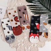 Femmes Filles Moutons Motif Mignon Chaussettes Casual Animal Coton Cheville Haute Funny Socks