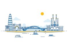 Welcome to Barcelona designed by Dmitrij for Fireart Studio. Connect with them on Dribbble; the global community for designers and creative professionals. Flat Design Illustration, Fun Illustration, Design Illustrations, Ad Design, Line Design, Design Posters, Graphic Design, City Drawing, City Landscape