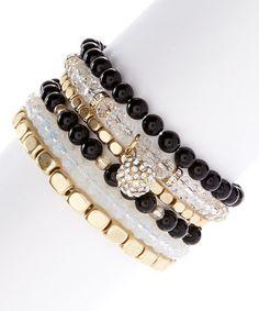 Look at this #zulilyfind! Black & Goldtone Crystal Bauble Stretch Bracelet Set #zulilyfinds