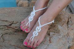Beach Wedding Micro Macrame Bridal Barefoot Sandals by JJJCrafts, $65.00