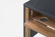Cable management detail on Drape Desk by Neri&Hu
