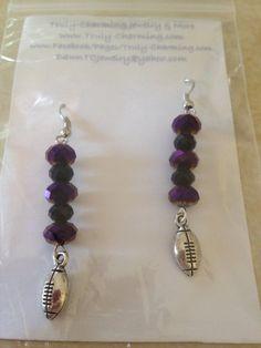 Baltimore Ravens Football Beaded Earrings on Etsy, $12.00