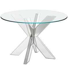 Simon Mirrored X Dining Table Base Silver