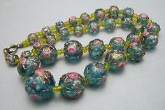 Charming Blue Venetian Lampworked Wedding Cake Graduated Glass Bead Necklace