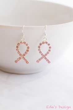 Delicate Breast Cancer Awareness Pink Ribbon Earrings by EdasDesign