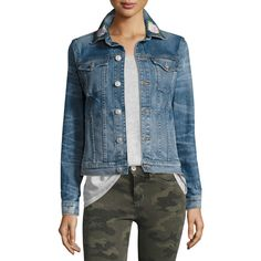Hudson The Classic Denim Jacket with Rose Embroidery ($275) ❤ liked on Polyvore featuring outerwear, jackets, indigo, women's apparel jackets, embroidered jacket, slim jacket, slim fit jean jacket, slim fit denim jacket and long sleeve jean jacket