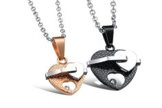 JEWELRY pendant necklace stainless steel couple necklaces lovers jewelry handmade heart shape 778