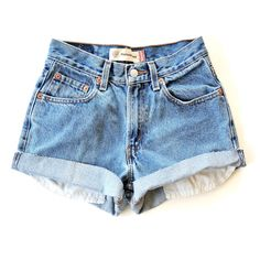 =LIMITED RESTOCKS WILL BE HAPPENING EVERY WEEK! Check back every Sunday if your size had sold out the previous week=  Reworked Levi's medium wash high waisted shorts, a basic. Distressing is optional.  At checkout, please let me know: - minor distressing or no distressing - cuffed or frayed...