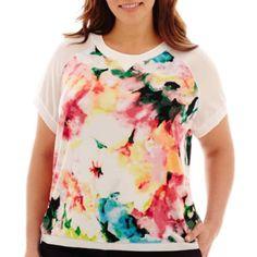 Worthington® Short-Sleeve Sweatshirt Boxy Top - Plus  found at @JCPenney