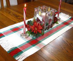Christmas Plaid Table Runner Handwoven Table Runner Christmas Buffet Scarf Christmas Coffee Table Runner Red, White and Green Table Runner by hobbymakers on Etsy