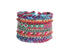 OOAKjewelz original wide friendship bracelet cuff with braided cotton and Swarovski elements - luxury gypset jewelry - hippie style