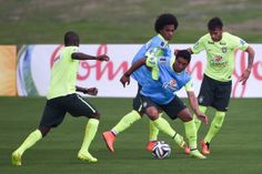 (L-R) Ramires, William, Paulinho and Neymar take part in during a training session during a training session of the Brazilian national football team at the squad's Granja Comary training complex, on June 09, 2014 in Teresopolis, 90 km from downtown Rio de Janeiro, Brazil. #worldcup