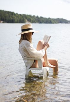 What is more relaxing than sitting in the water reading a good book and your toes dipped in cool water? Stay protected from the sun by covering up with an oversized button down shirt, a sun hat and sunglasses and you are good to go.