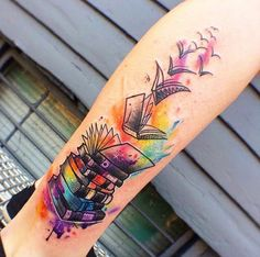 47 Awesome Book Tattoo Designs Ideas For Bookworms - Bellestilo Tattoos Skull, Body Art Tattoos, New Tattoos, Tatoos, Arrow Tattoos, Ribbon Tattoos, Henna Tattoos, Word Tattoos, Temporary Tattoos