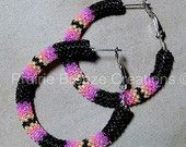 Black & Neon Peyote Stitch Hoops