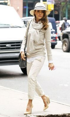 oatmeal sweater + beige scarf + white shirt + relaxed chinos + nude heels