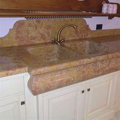 z1057 ZEM marmi Piano di cucina con lavello di Giallo atlantide ...