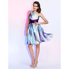 Платье ( Шифон ) - Цветочный - Платье-чехол - На одно плечо – RUB p. 6 933,31