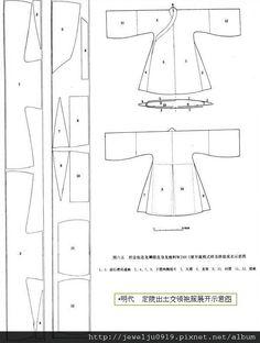 Chinese method of pattern making- ile ilgili görsel sonucu Fashion Sewing, Kimono Fashion, Diy Fashion, Clothing Patterns, Sewing Patterns, Dress Patterns, Pattern Cutting, Pattern Making, Sewing Clothes