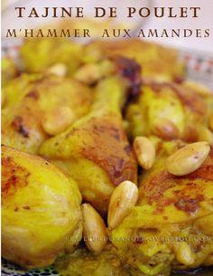 Cuisine marocaine : tajine de poulet aux amandes Chicken with Almonds via Sandra Angelozzi Vegetarian Recipes, Cooking Recipes, Healthy Recipes, Tagine, Algerian Recipes, Cuisine Diverse, Exotic Food, Middle Eastern Recipes, Arabic Food