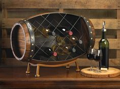 Unique Wooden Barrel Wine Rac $175.00 ~~~~ really cool idea, something to make in the future