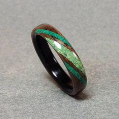 Walnut and Ebony Bentwood Ring with Malachite and Turquoise