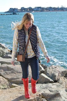 J Crew Navy Striped Excursion Vest; Gold Polka Dot Sweater. Red Hunters