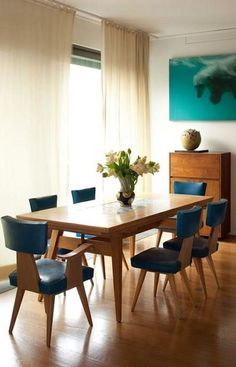 Vladimir Kagan 1946. Amazing mid century modern, post WWII dining furniture.