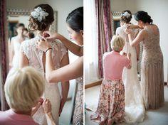 monica gets dressed for her wedding - herrington inn and riverside receptions wedding - Elite Photo