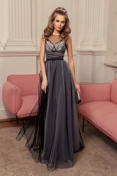 A-line evening gown with illusion neckline, ruched bodice, belt at the waist, and a full and fun organza skirt Evening Gowns With Sleeves, Long Evening Gowns, Short Cocktail Dress, Cocktail Dresses, Illusion Neckline, Spring Dresses, Formal Gowns, Skirt Fashion, Dress Collection