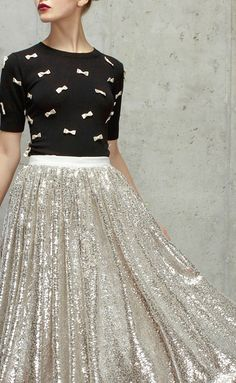 alice + olivia fall 2014 glitter skirt and bow sweater