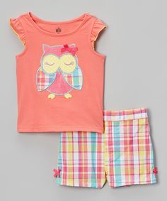 Another great find on #zulily! Kids Headquarters Peach & Blue Plaid Owl Tee & Shorts - Infant, Toddler & Girls by Kids Headquarters #zulilyfinds