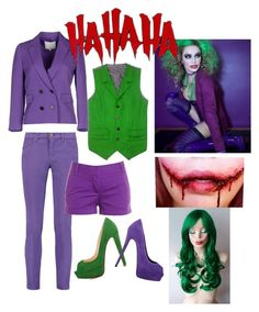 """female Joker inspired outfit"" by sydnied2015 ❤ liked on Polyvore featuring 3.1 Phillip Lim, Venom, Emilio Pucci, Christian Louboutin, Giuseppe Zanotti and J.Crew"