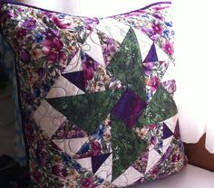 Purple and Green Floral Quilted Patchwork Pillow by Pamelaquilts.