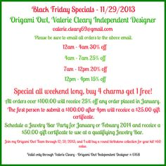 Black Friday Specials start at 12AM, Friday 11/29/13