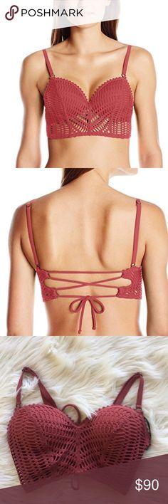 Women's Sophia Crochet Bustier Bikini-Underwire Robin Piccone crochet bikini top. NWT size: S Color: rosewood Swim Bikinis