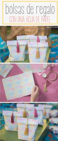 Gift Wrapping Inspiration : DIY gift bag with a sheet of paper. Diy Paper, Paper Crafts, Gift Wraping, Gift Packaging, Gift Bags, Diy Gifts, Diy And Crafts, Favors, Wraps