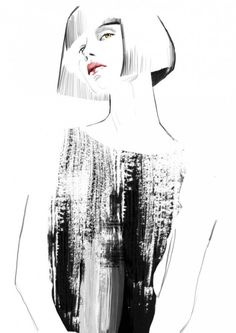 Fashion illustration - contemporary fashion drawing // Sandra Suy- reminds me of Sia Fashion Illustration Techniques, Fashion Illustration Sketches, Fashion Sketchbook, Fashion Sketches, Collage Kunst, Mode Collage, Art And Illustration, Fashion Art, Fashion Design