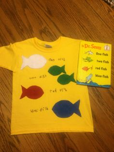 For Dr. Seuss Day. One Fish, Two Fish, Red Fish, Blue Fish. Tshirt w/felt fish.