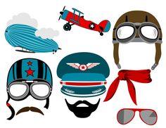 los caracteres del aviador fueron cuidadosamente dibujado digitalmente a mano. Ideal para tu fiesta de aviador, decoraciones, fotos