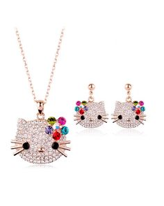 Crystal Bling Hello Kitty Necklace and Earrings Set | UnmutedBeauty