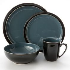 Denby Duets Black and Blue 4-pc. Place Setting