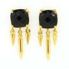 Black Onyx Spikes - Earrings For Women - Lanie Lynn Jewelry Gold Earrings For Women, Black Onyx, Tech Accessories, Women's Earrings, Spikes, Jewelry, Facebook, Twitter, Art