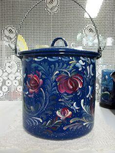 A Blue Enamelware Kettle Hand Painted in an by FolkArtByNancy, $45.00