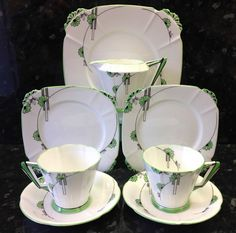 "Royal Albert Art Deco Shape ""Embassy"" Pattern Tea for Two Set. in Pottery, Porcelain & Glass, Porcelain/ China, Royal Albert | eBay"