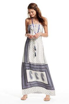 Printed silk strapless dress