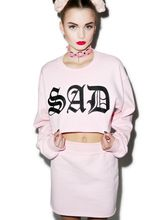 EAST KNITTING F1662 New Crop Tops Hoodies Sweatshirts Fashion Casual Letters Tops Cotton Blends Pullovers(China (Mainland))