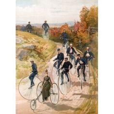 Bicycling 1887 Sandham Hy (19th CAmerican) Lithograph Canvas Art - Henry Sandham (18 x 24)