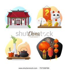 Stock Photo: Chinese culture traditions and symbols 4 stylish compositions set with tea ceremony and red lanterns isolated illusttration