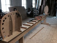 Setting up the strongback (Building support) for the 16' Prospector Canoe